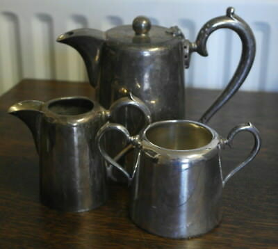 antique  silver plate TEAPOT milk and sugar walker and hall
