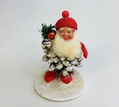 Vtg Christmas Santa Gnome Pine Cone Spun Cotton Mercury Glass Germany USSR Zone