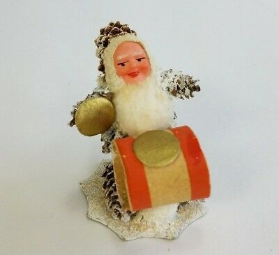 Vtg Christmas Santa Gnome Drum Pine Cone Spun Cotton Composite Germany USSR Zone