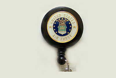 AIR FORCE USAF Retractable Reel ID Badge Holder/Keychain Key ring US Military