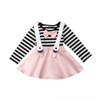 Baby Girls Bow Stripes Princess Party Skirt Dress Long Sleeve Toddler Clothes