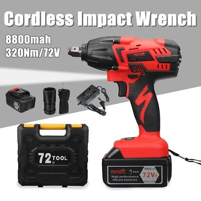 NEW Cordless Impact Wrench 72V Power Tool with 8.8Ah Lithium Battery Charger LED