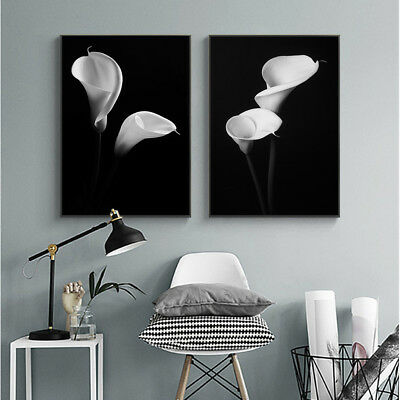 Black White Flower Poster Abstract Canvas Wall Art Print Nordic Home Decoration