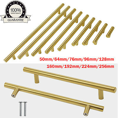 Brushed Brass Kitchen Cabinet Pulls Stainless Steel Drawer T Bar Handles ∅12mm