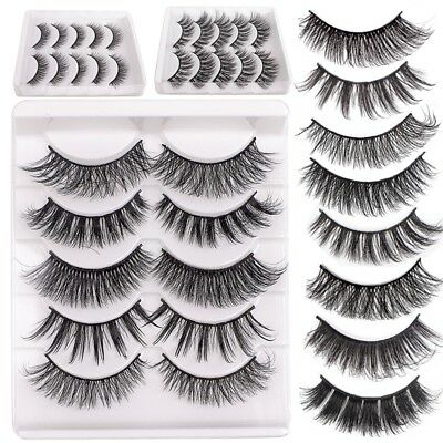5 Pairs 3D Natural False Eyelashes Long Thick Mixed Fake Eye Lashes Makeup Mink