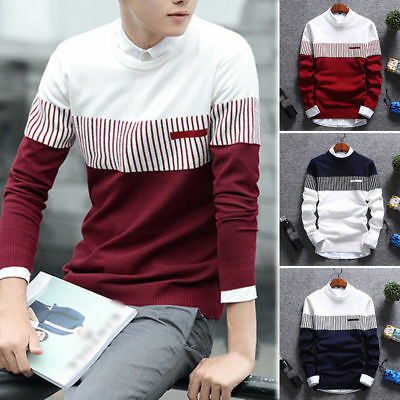 Men's Casual Round Neck Fashion Knit Sweater Pullover Knitwear Jumper Coat Tops