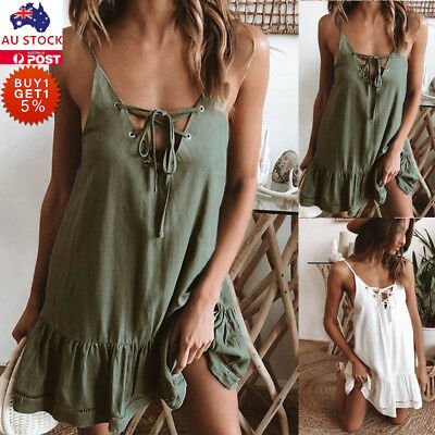 Women Lace Up Strappy Mini Dress Ladies Casual Loose Summer Beach Swing Sundress