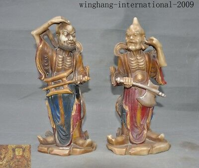 Rare antique China Natural Shoushan Stone Hand carved Evil Door God Statue Pair