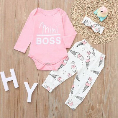 Baby Girls Long Sleeve Letter Romper+Ice Cream Print Pants+Headband Outfits Sets