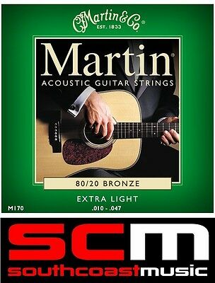 Martin Co EXTRA LIGHT BRONZE ACOUSTIC GUITAR STEEL STRINGS 10-47 M170