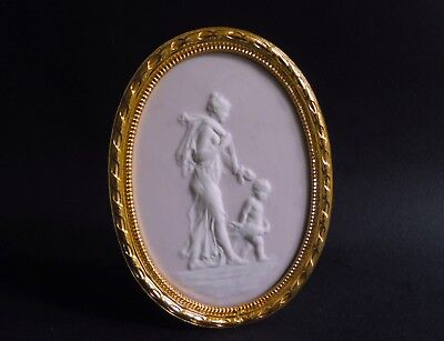 Venus driving Love Pate-sur-Pate Ormolu pink framed Plaque Camille Tharaud 4 ""