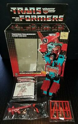 Vintage 1985 Transformers G1 Perceptor 100% Complete With Box & Instruction Book