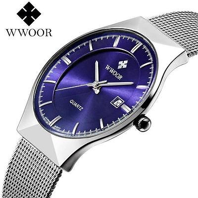 WWOOR Men's Stainless Steel Date Quartz Casual Wrist Watches Waterproof AS*#