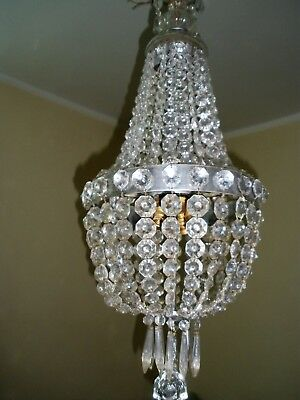 Antique Vnt French basket style Crystal Chandelier Lamp 10 light 1950s