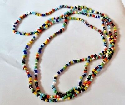 """India Bead Necklace 36"""" Long Multi Color Costume Native American, Hippie, Gypsy"""