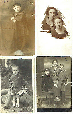 Judaica 4 photos of a jewish family signed in Yiddish and Russian 1927-33
