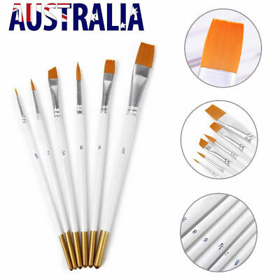 6X Artist Paint Brushes Set Kit Watercolour Acrylic Oil Painting Face Craft