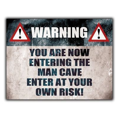 WARNING ENTERING MAN CAVE - METAL SIGN A4  PLAQUE funny humorous door sign