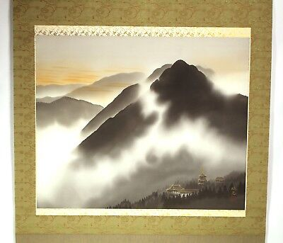 HANGING SCROLL JAPANESE KAKEJIKU | Landscape Painting: Pagoda by Koukou #263