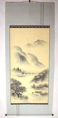 HANGING SCROLL JAPANESE KAKEJIKU | Landscape Painting in Sumi Ink by Shikou #390