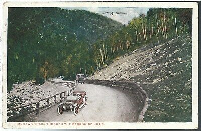 Massachusetts MA Mohawk Trail Road Early Automobiles 1918 Postcard White Border