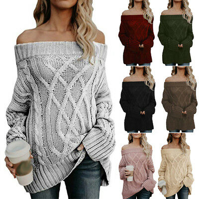Damen Sexy Schulterfrei Strickpullover Sweater Sweatshirt Wolle Winter Pulli Top
