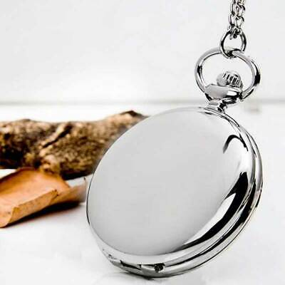 Men's Polished Vintage Pocket Watch Necklace Chain Pendant Gift Quartz Movement