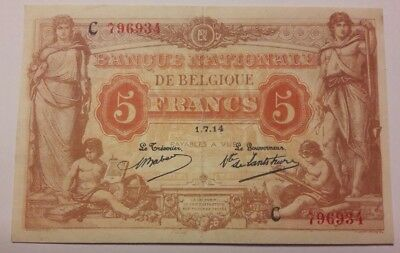 5 francs 1914 Anvers Frank SUP/FDC