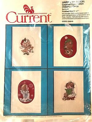 Current Vintage Counted Cross Stitch Christmas Cards Kit (4) Warm & Whimsical