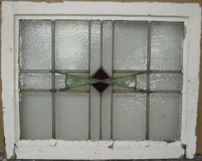 "MID SIZED OLD ENGLISH LEADED STAINED GLASS WINDOW Gorgeous Geometric 25"" x 20"""