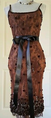 Oscar De La Renta Stunning Dark Mocca Silk Tulle Lace Bead Sequin Dress Us S