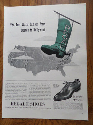 1942 Regal Shoes Ad The Boot that's Famous from Boston to Hollywood
