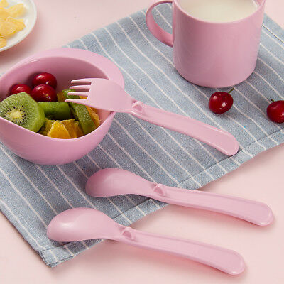2Pcs Baby Infant Feeding Spoon Forks Toddler Training Eating Spoon Set Food R2I4