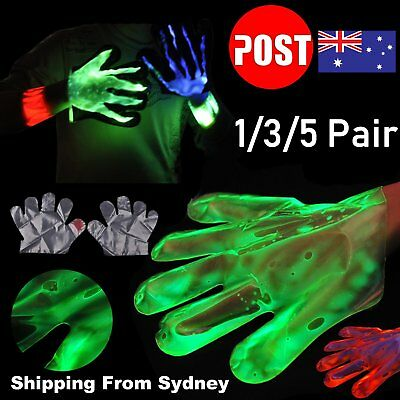 1/3/5Pair Green Red Glow Gloves In The Dark Light Party Game Night Fun Neon Hall