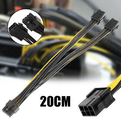 Dual 6 Pin To Single 8Pin Adapter Cable Graphics Video Card Power Splitter CPU