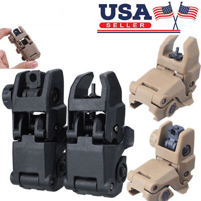 US Tactical Folding AR Front Rear Flip Up Backup Sights BUIS MBUS Set 223 5.56