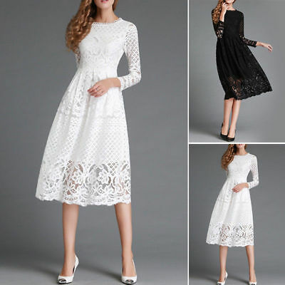 Womens Ladies Long Sleeve Lace Floral Skater Evening Party Midi A-Line Dress