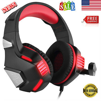 Gaming Headset Over Ear Headphone Stereo Bass Surround With Mic For PS4 Xbox One
