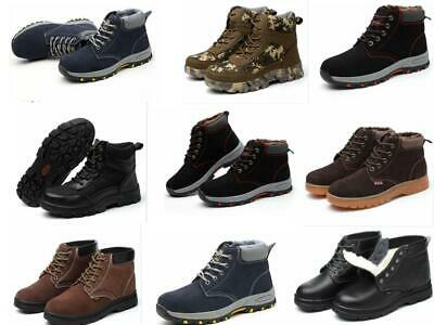Womens Safety Shoes Fur Lined High Top Steel Toe Cap Mens Snow Work Boots  Shoes 89d6856ffe