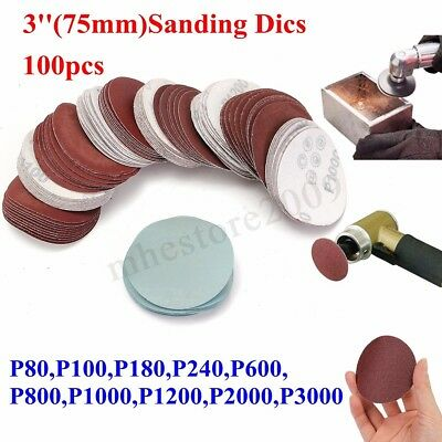 "100pcs 3"" 75mm 80-3000 Grits Sander Disc Mix Set Sanding Polishing Pad Sandpaper"
