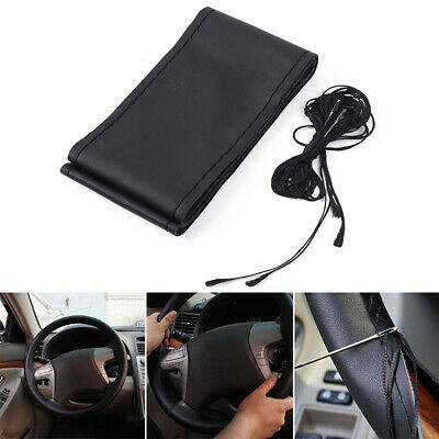 Universal Real Leather DIY Car Steering Wheel Cover Auto Protection Needle 38cm
