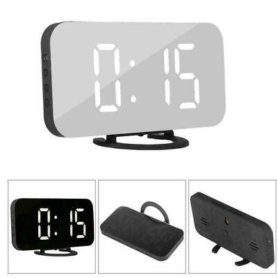 Digital Alarm Clock LED Display Portable Modern USB & Battery Operated Mirror