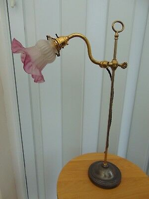 VINTAGE FRENCH BRASS ADJUSTABLE TABLE DESK LAMP with GLASS SHADE
