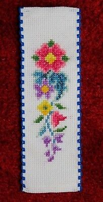 """Completed cross stitch bookmark - floral, back with white felt, approx 2"""" x 6.5"""