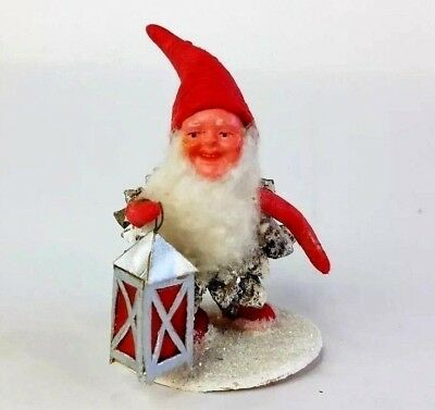 Vtg Red Pine Cone Santa Gnome Lantern Spun Cotton Composite Face Germany Rare