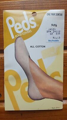Vintage Peds NOS Foot Covers Socks Suntan Cotton Size 9-9.5 for Shoe Size 5-6.5