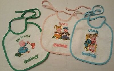 Cabbage Patch Kid Baby Bibs Lot of 3 Infant Clothing 1984 Vintage CPK