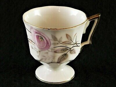 Napco 4ZD 5318 Teacup Hand Painted China Footed Tea Cup Pink Flower Gold Trim