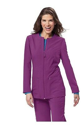 New Koi Medium Sapphire Deja Scrub Jacket Plum Medical Uniform Warm Up