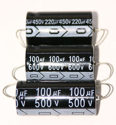 220uf 450V, 100uF 500V, 100uf 600V Axial Electrolytic Capacitors High Temp 105C
